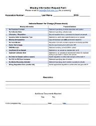 Missing Information Form
